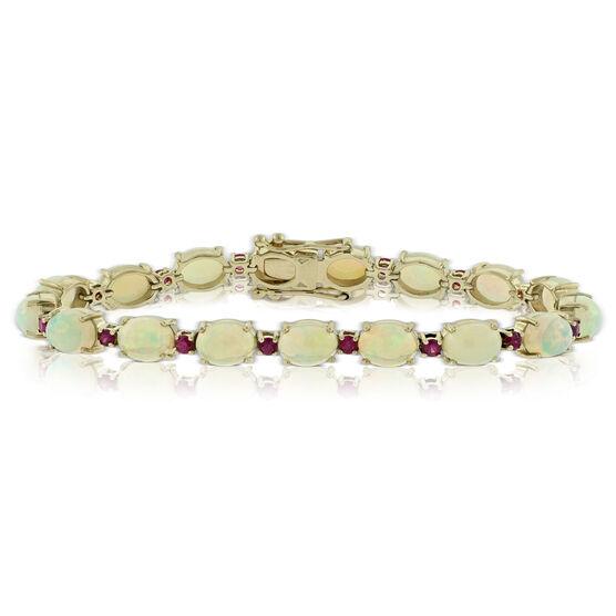 "Opal & Ruby Gemstone Bracelet 14K, 7.25"""