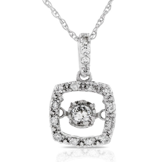 Love's Pulse Diamond Halo Pendant 14K