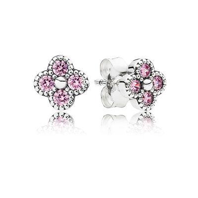 PANDORA Oriental Blossom Pink CZ Earrings