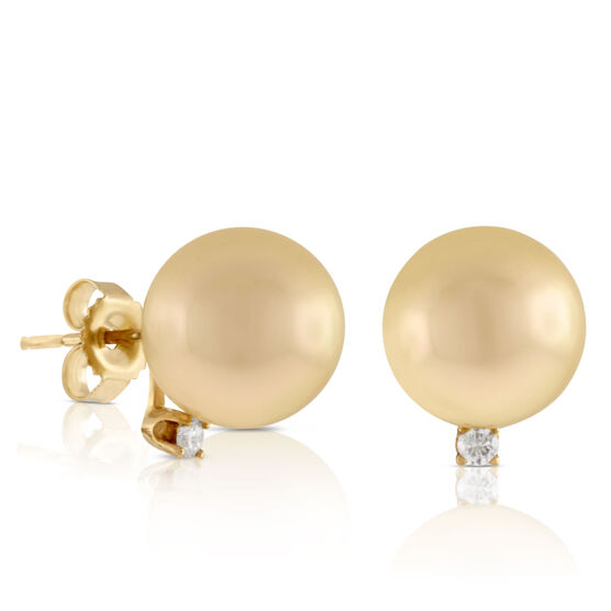 Golden South Sea Cultured Pearl & Diamond Earrings 14K