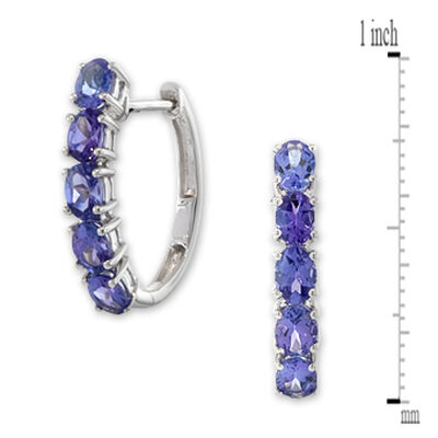 Tanzanite Hoop Earrings 14K