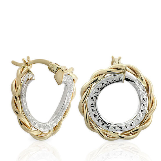 Two Tone Hoop Earrings 14K