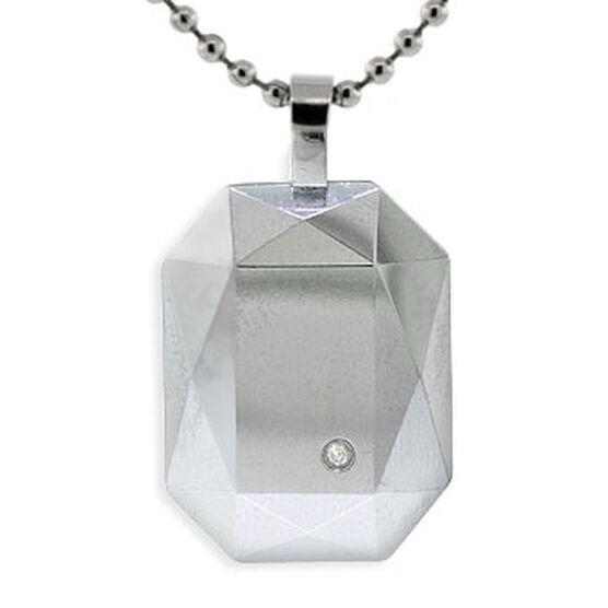 Men's Diamond Tungsten Pendant, Stainless Steel Chain