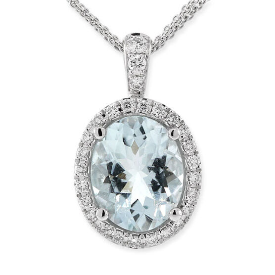 Aquamarine & Diamond Pendant 18K