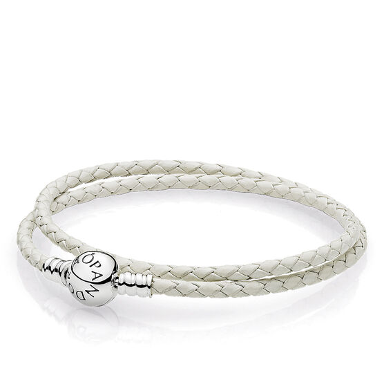 PANDORA  Ivory White Double Leather Bracelet