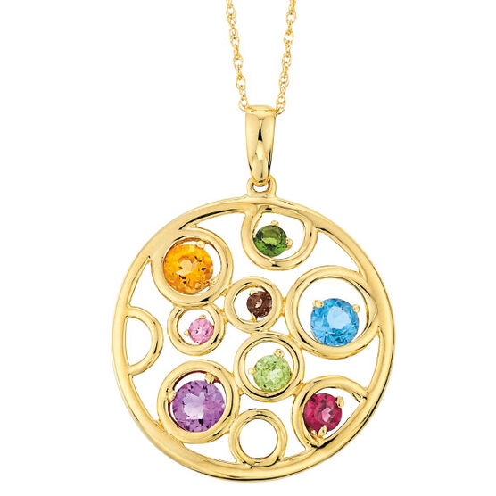 Multi-Gem Pendant 14K