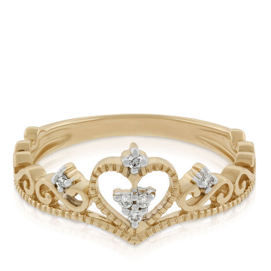 Diamond Heart Crown Ring 14K