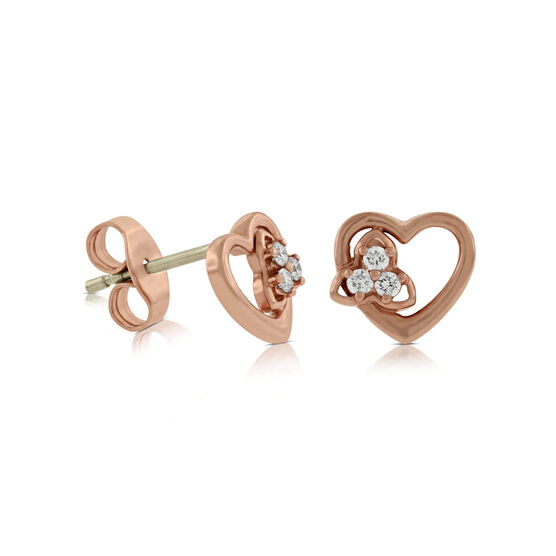 Rose Gold Diamond Heart Earrings 14K