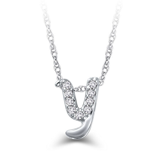 "Diamond ""Y"" Initial Pendant 14K"