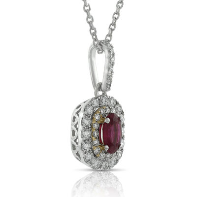 Double Halo Ruby & Diamond Pendant 14K