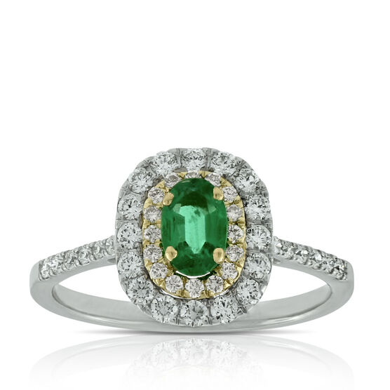 Double Halo Emerald & Diamond Ring 14K
