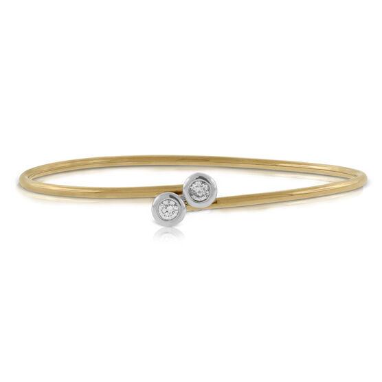 Rose Gold Diamond Bypass Flex Bangle 18K