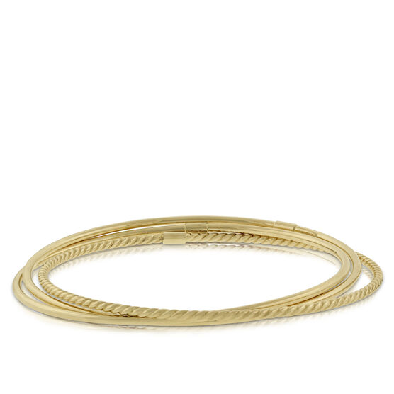 Three Piece Interlocking Bangle Bracelets 14K