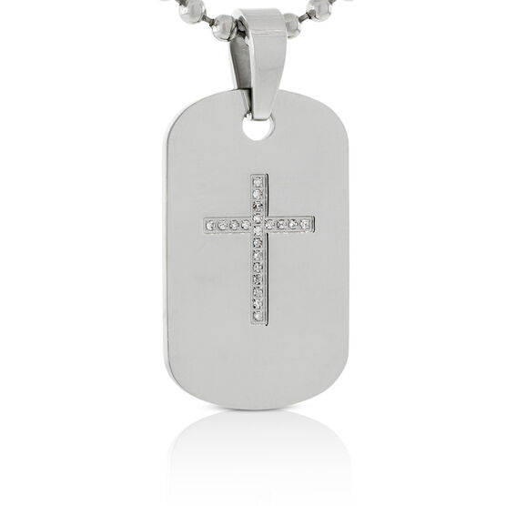 Diamond Dog Tag 'Cross' Pendant in Stainless Steel