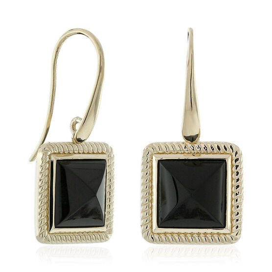 Black Onyx Pyramid Rope Bezel Earrings 14K