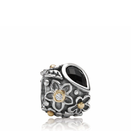 PANDORA Dew Drops On Flowers Diamond & Onyx Charm, Silver & 14K RETIRED