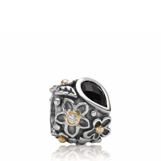 PANDORA Dew Drops On Flowers Diamond & Onyx Charm, Silver & 14K RETIRED