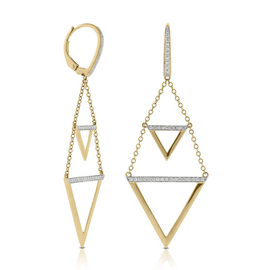 Triangle Drop Diamond Earrings 14K, Contest Design Winner
