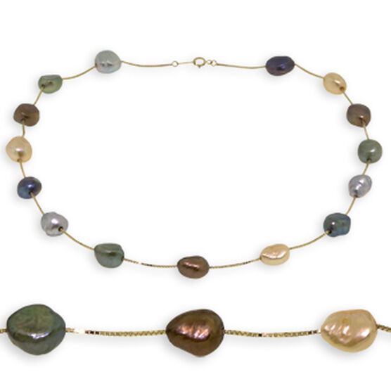 Dyed Freshwater Cultured Pearl Necklace 14K