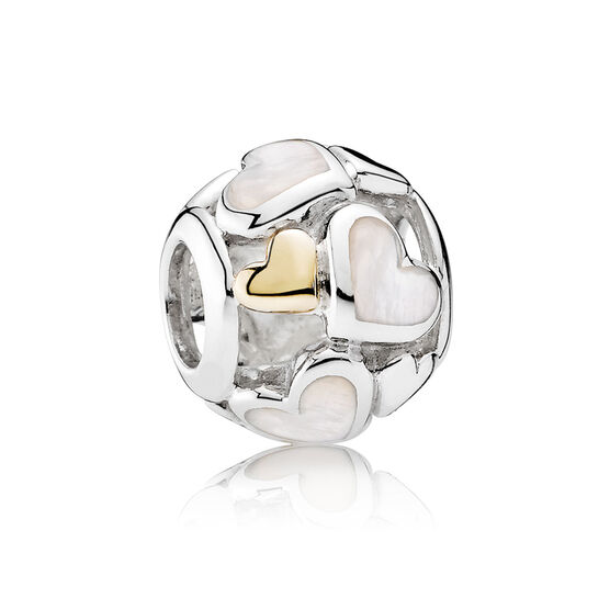 PANDORA Luminous Hearts Charm, Silver & 14K