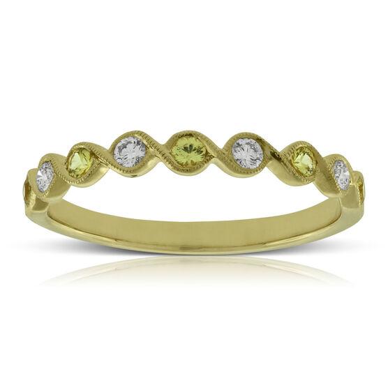 Yellow Sapphire & Diamond Ring 14K