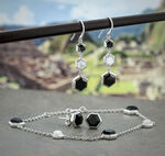 Lisa Bridge Black Onyx & Mother of Pearl Drop Earrings