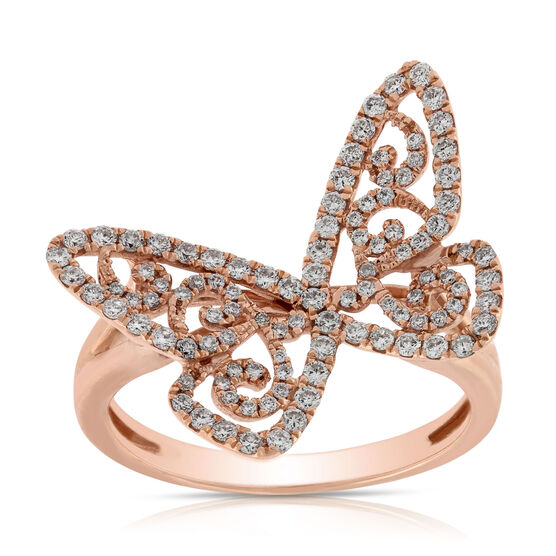 Rose Gold Diamond Butterfly Ring 14K