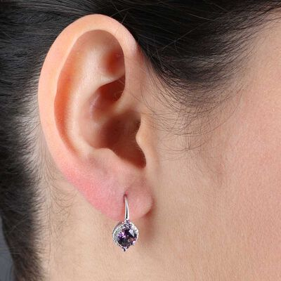 Round Amethyst Halo Earrings 14K