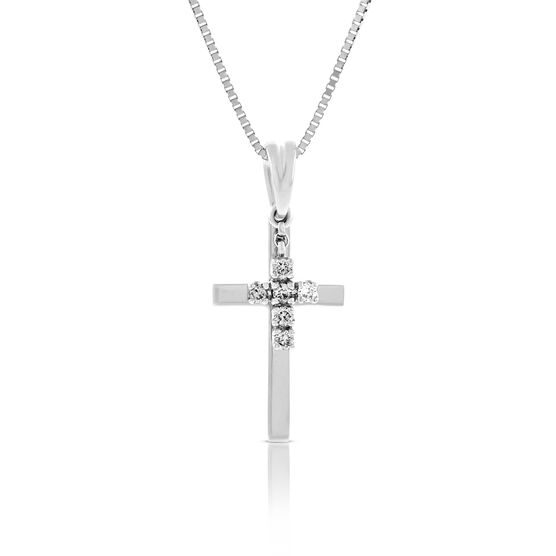 Diamond Double Cross Pendant 14K