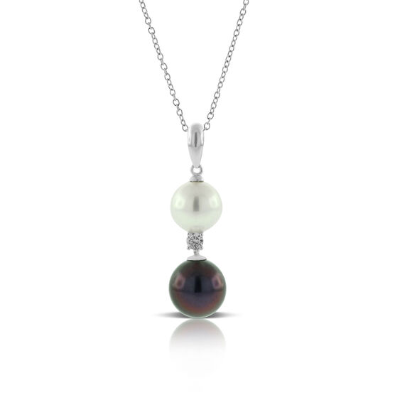 Freshwater Cultured Pearl, Tahitian Pearl & Diamond Pendant 14K