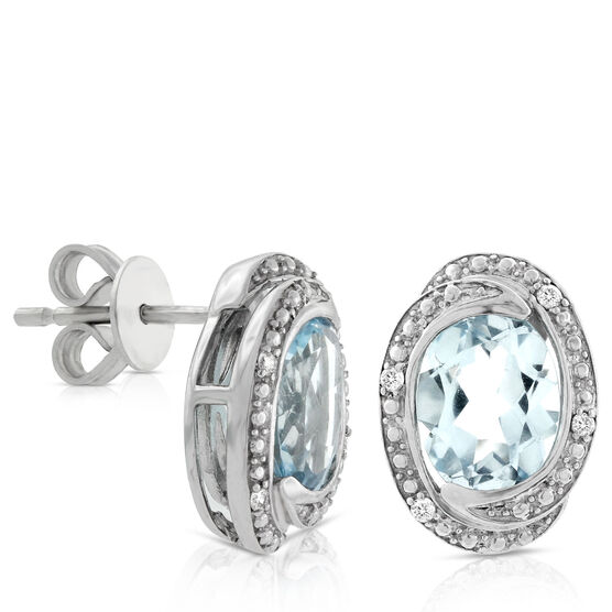 Oval Blue Topaz & Diamond Earrings 14K
