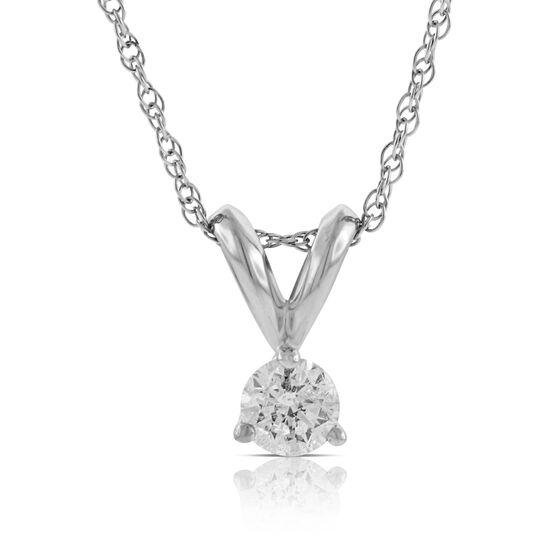 Diamond Solitaire Pendant 14K