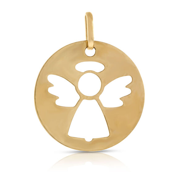 Angel Disc Charm / Pendant 14K
