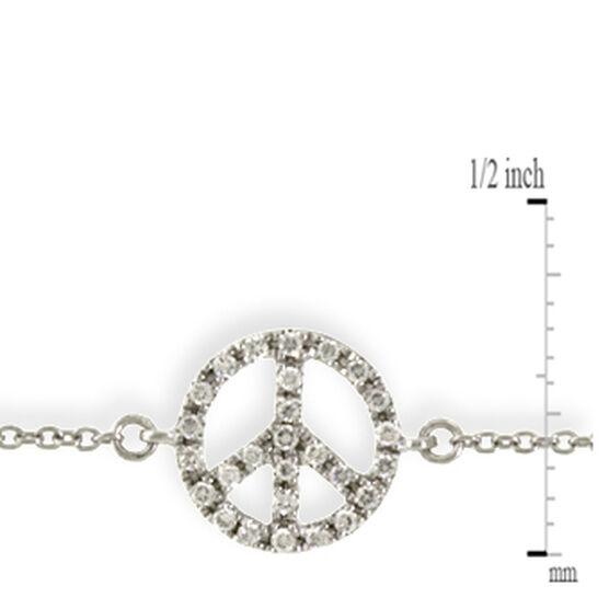 Tiny Peace Sign Diamond Bracelet 14K