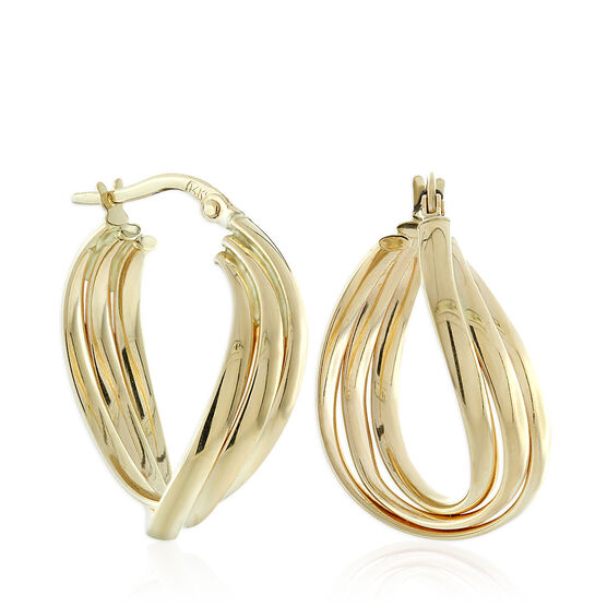 Toscano Triple Twist Hoop Earrings 14K