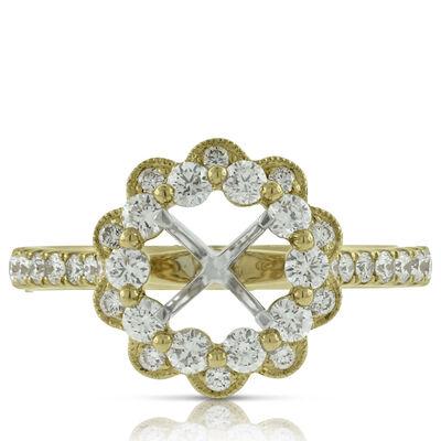Diamond Flower Semi-Mount Ring 14K