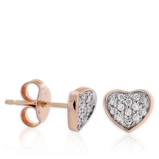 Heart Shaped Diamond Earrings 14K