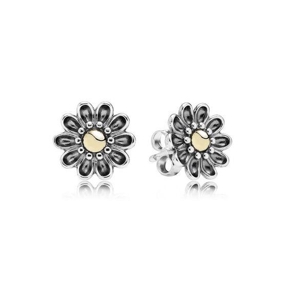 PANDORA Oopsie Daisy Earrings, Silver & 14K
