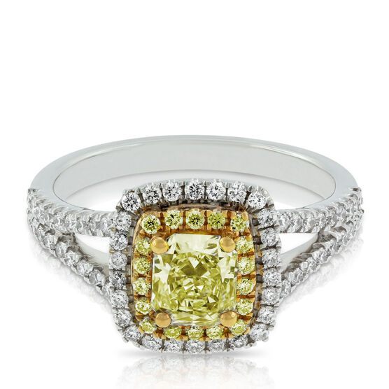 Radiant Yellow & White Diamond Double Halo Ring 18K- SOLD OUT (see note below)