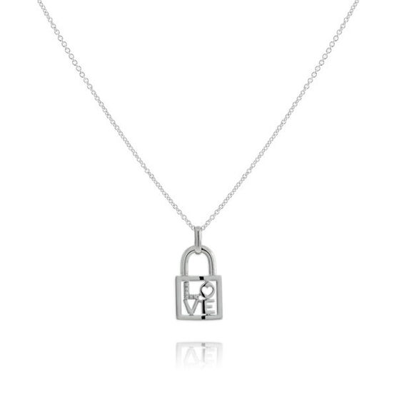 Diamond 'Love' Lock Pendant in Sterling Silver