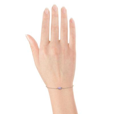 Rose Gold Oval Amethyst Bracelet 14K