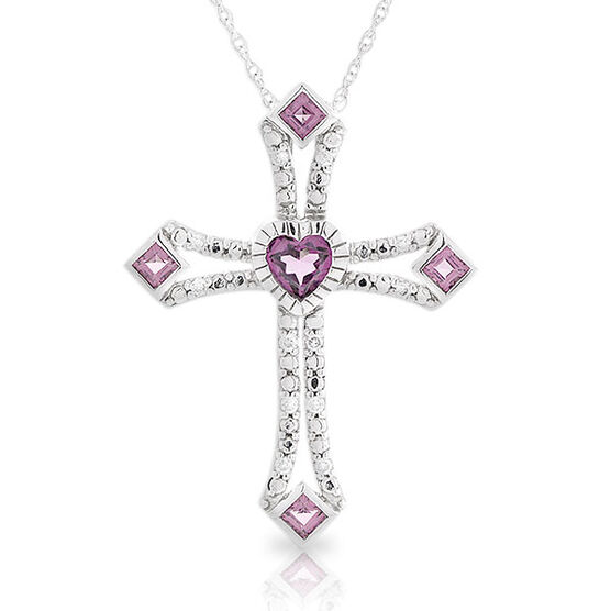 Garnet & Diamond Cross Pendant 14K