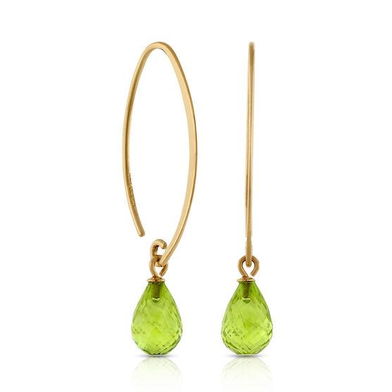 Peridot Drop Earrings 14K   Ben - 17.5KB