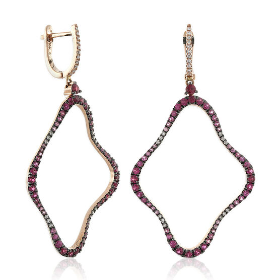 Pink Sapphire & Diamond Rose Gold Dangle Earrings 14K