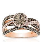 Rose Gold Brown & White Diamond Cluster Ring 14K