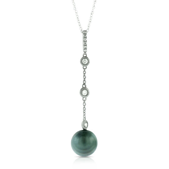 Tahitian Cultured Pearl & Diamond Pendant 14K