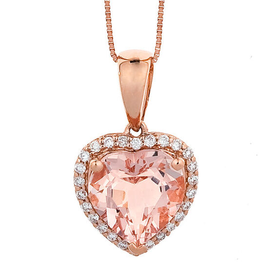Morganite & Diamond Heart Pendant 14K