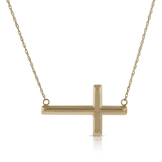 Rose Gold Sideways Cross  Necklace 14K