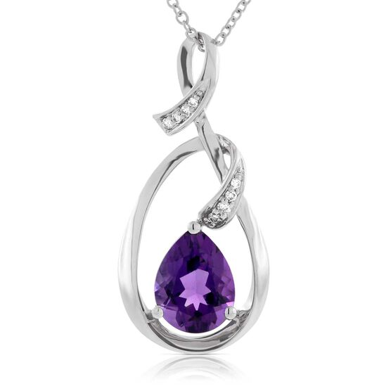 Amethyst & Diamond Freeform Pendant 14K