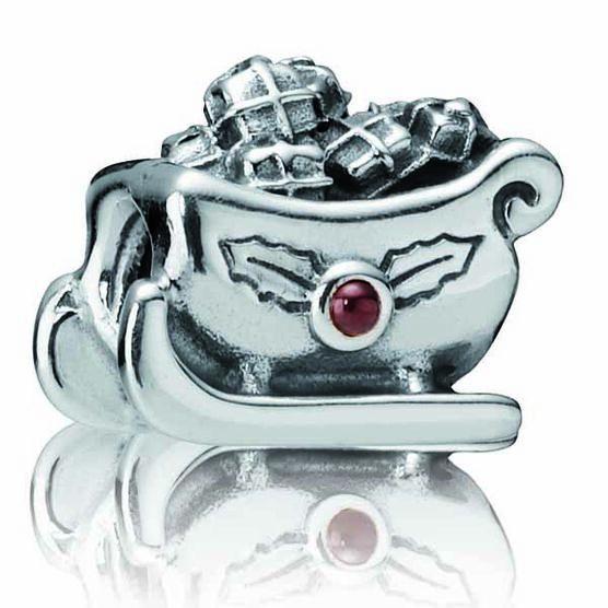 PANDORA Santa's Sleigh Garnet Charm RETIRED
